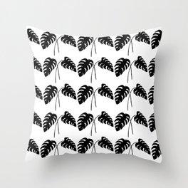 Tropical Monstera Leaves Black on White Throw Pillow