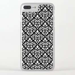 Scroll Damask Big Pattern White on Black Clear iPhone Case