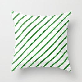 Diagonal Lines (Forest Green/White) Throw Pillow