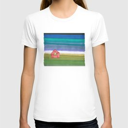 American Farm Landscape Blue Stripes 82 T-shirt