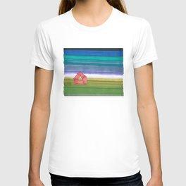 American Farm Landscape Blue Stripes 82 T-shirt