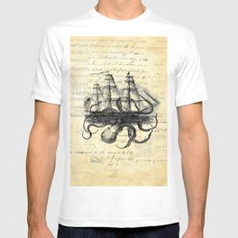 Kraken Octopus Attacking Ship Multi Collage Background T-shirt