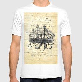 Kraken Octopus Attacking Ship Multi Collage Background T-shirt
