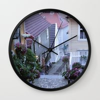 norway Wall Clocks featuring Bergen - Norway  by Cynthia del Rio