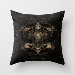 Owl in Sacred Geometry Composition - Black and Gold Throw Pillow