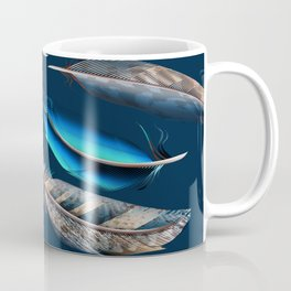 Feather blue. In fashion. Trendy pattern Coffee Mug