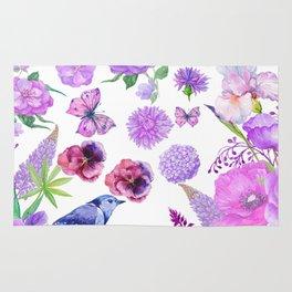 Elegant pink violet watercolor hand painted floral pattern Rug