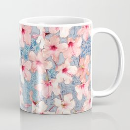 Shabby Chic Hibiscus Patchwork Pattern in Pink & Blue Coffee Mug