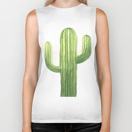 Simple Green Cactus on White Biker Tank