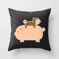 Baby Monkey (Black Bg) Throw Pillow