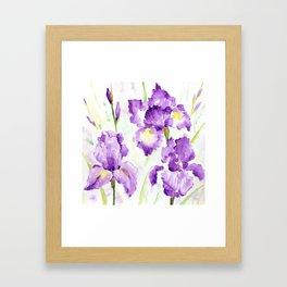 Watercolor Blue Iris Flowers Framed Art Print