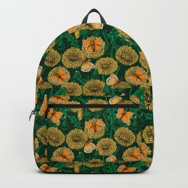 Dandelion meadow on dark green Backpack