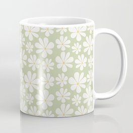 Floral Daisy Pattern - Green Coffee Mug