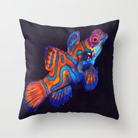 duvet cover Throw Pillows featuring AMAZING CREATURE DUVET COVER by aztosaha