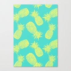 Pineapple Pattern - Turquoise & Lemon Canvas Print