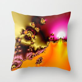 glowing frogs in pool Throw Pillow
