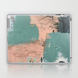 13th and Grant: an abstract mixed media piece in peach green blue and white Laptop & iPad Skin