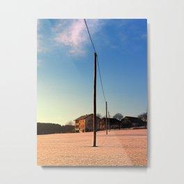 Powerline, sundown and winter wonderland   landscape photography Metal Print