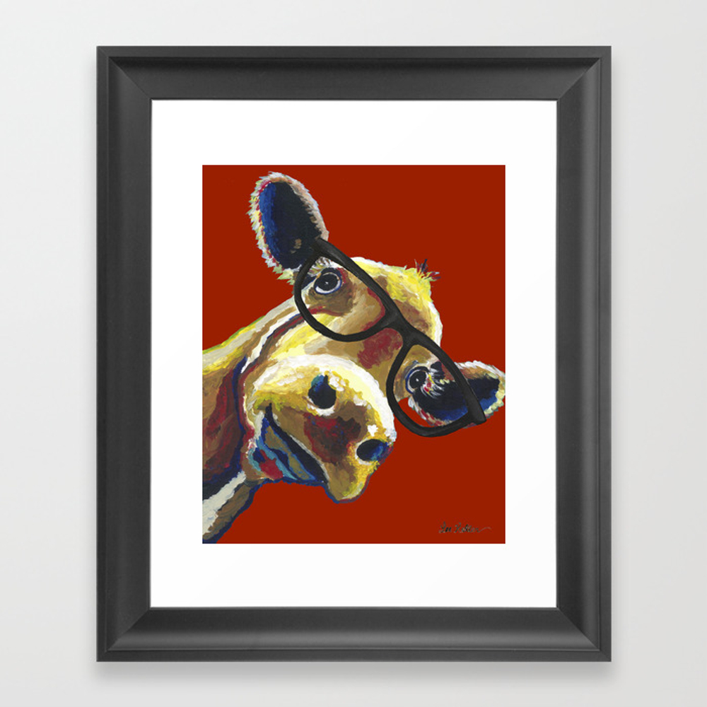 Red Cow Glasses, Cute Cow With Glasses Framed Art Print by Leekeller FRM8994311
