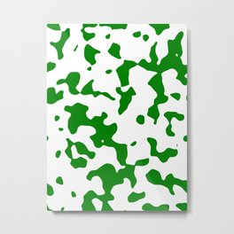 Large Spots - White and Green Metal Print
