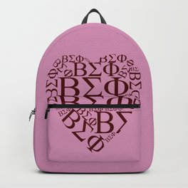 Red ΒΣΦ Shaped Heart on Pink (BSP) Backpack