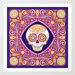 Cute Sugar Skull - Day of the Dead Skull Art by Thaneeya McArdle Art Print