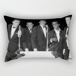 Peter Lawford, Frank Sinatra, Dean Martin, Sammy Davis Jr. and Joey Bishop singing from cue cards. Rectangular Pillow