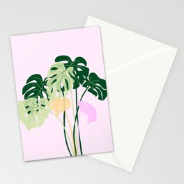 monstera plant on pink background Stationery Cards