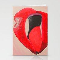 lipstick Stationery Cards featuring LIPSTICK by Ming Myaskovsky