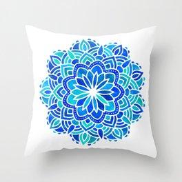 Mandala Iridescent Blue Green Throw Pillow