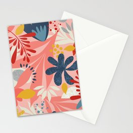 Tropical jungle in pink & blue Stationery Cards