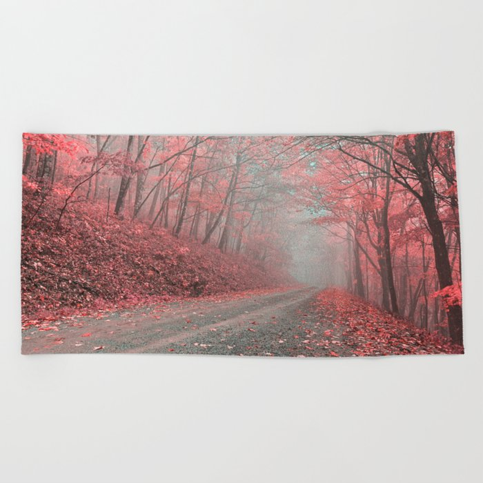 Misty Forest Road - Tickle Me Pink Beach Towel