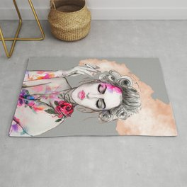 Tender girl, flowers and smoke. #picture Rug