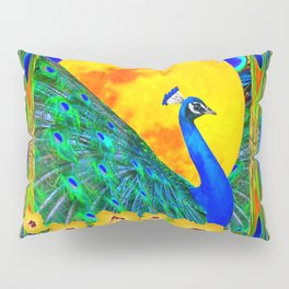 YELLOW HIBISCUS FULL GOLDEN MOON  BLUE PEACOCKS Pillow Sham
