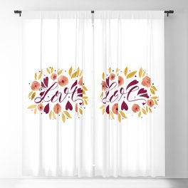 Love and flowers - garnet and orange Blackout Curtain