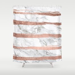 Modern chic faux rose gold brush stripes white marble Shower Curtain