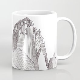 Patterns on Patagonia / Black and White Mountain Drawing / Abstract Mountain Landscape Coffee Mug