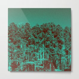 Minty Green Forest Metal Print