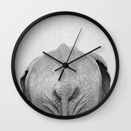 Elephant Tail - Black & White Wall Clock