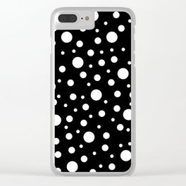 White on Black Polka Dot Pattern Clear iPhone Case