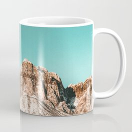 Vintage Red Rocks Moon // Mountain Range Snowcaps in Winter Desert Landscape Photograph Luna Sky Coffee Mug