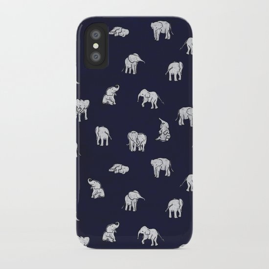 Indian Baby Elephants in Navy iPhone Case