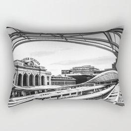 Union Station // Train Travel Downtown Denver Colorado Black and White City Photography Rectangular Pillow