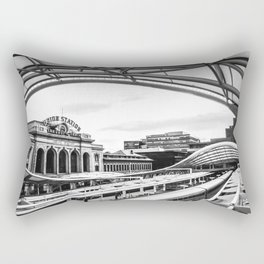 Union Station // Train Travel Downtown Denver Colorado Black and White City Photography Rectangular Pillow