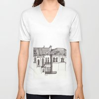 brussels V-neck T-shirts featuring Brussels by MadmFia