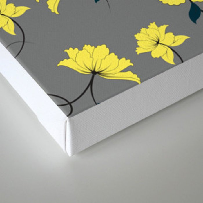Yellow Flowers on Gray/Grey background, floral pattern Canvas Print