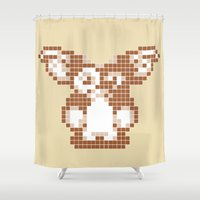 8 bit Shower Curtains featuring 8 bit Gizmo by Canis Picta