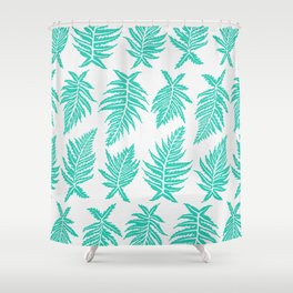 Inked Ferns – Turquoise Palette Shower Curtain