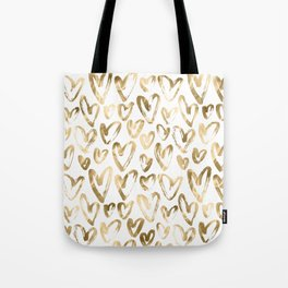 Gold Love Hearts Pattern on White Tote Bag