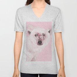 Polar Bear in Pink Unisex V-Neck